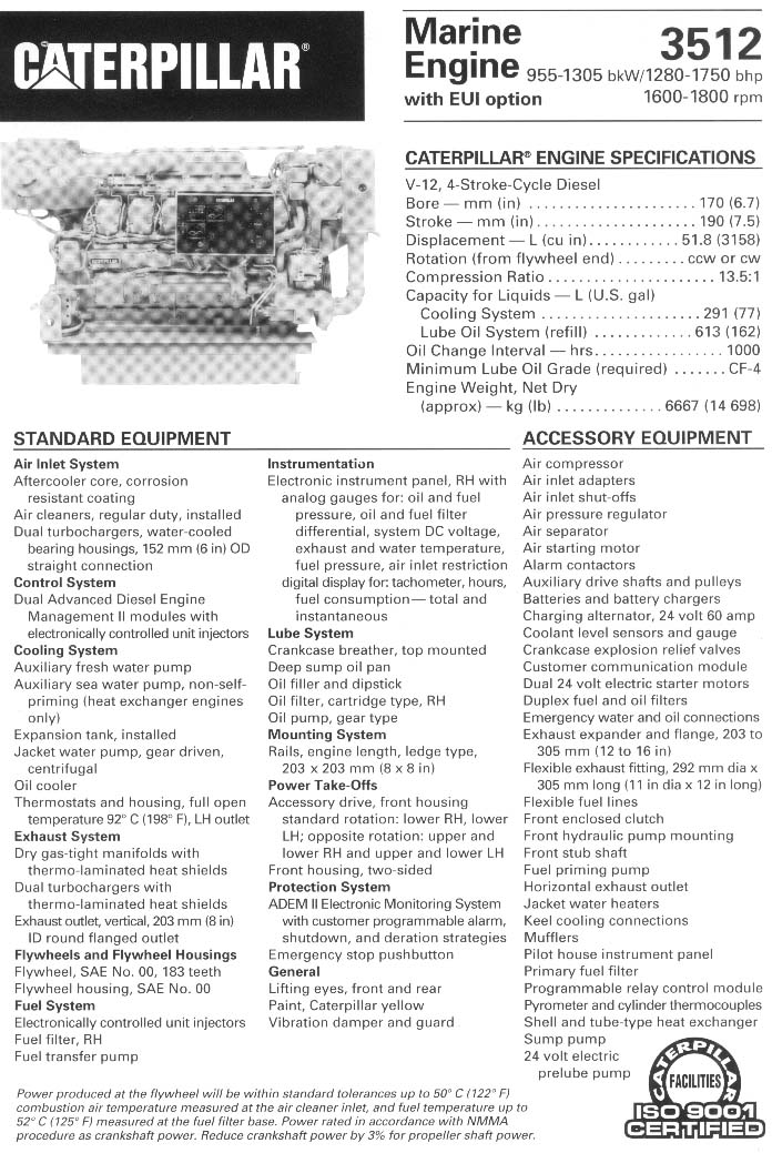 caterpillar 3512b marine engine specifications wiring