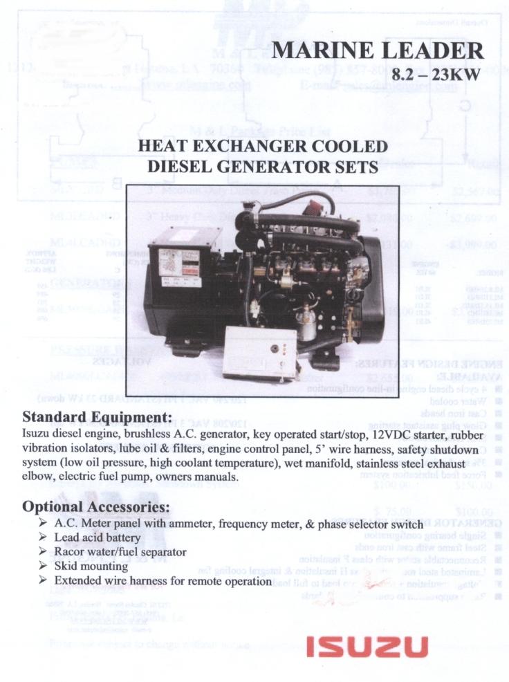 isuzu ml100inhd new diesel marine genset rh goldcoastpower com Portable Generator Wiring Diagram Kohler Generator Wiring Diagram