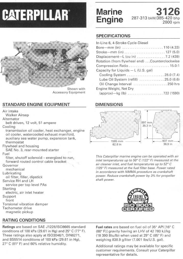 CATERPILLAR-3126TA RBLT MARINE ENGINE