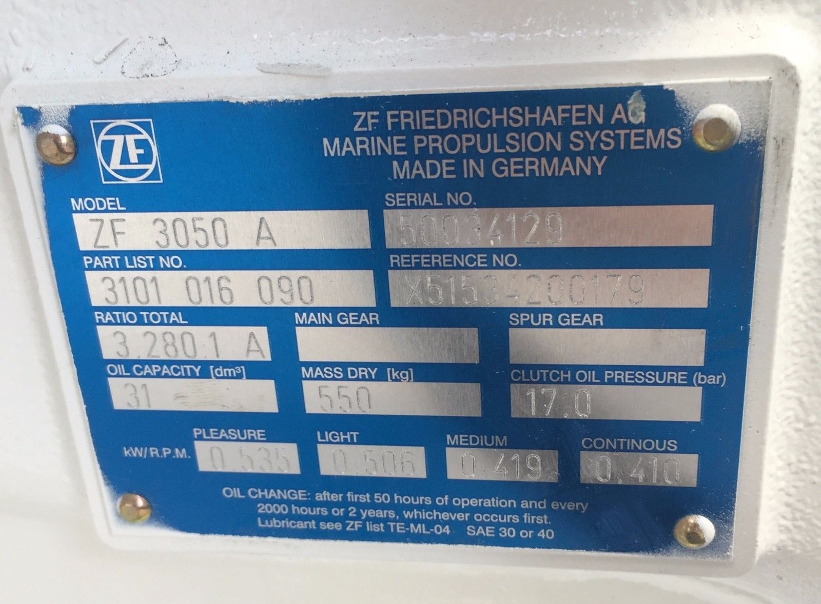 ZF 3050A New surplus marine transmission